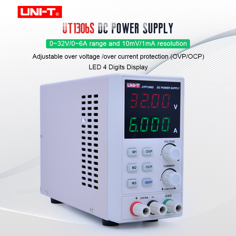UNI-T UTP1306S Mini DC power supply 4 Digit Display LED High Precision Adjustable dc power supply Switch 0~32V/0~6A AC 220V 50HzUNI-T UTP1306S Mini DC power supply 4 Digit Display LED High Precision Adjustable dc power supply Switch 0~32V/0~6A AC 220V 50Hz