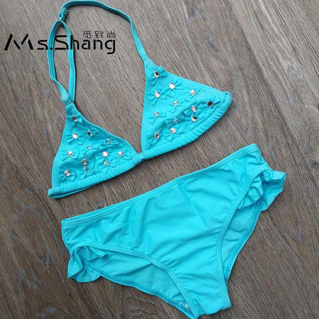 083014bf90 5-12 ans bleu bébé fille Bikini maillot de bain enfants deux pièces  maillots de