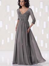 3/4 ärmeln 2017 Mutter Der Braut Kleider A-line V-ausschnitt Grau Chiffon Perlen Lange Abendkleider Mutter Kleider Für Hochzeit