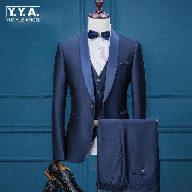 Top Brand Mens Office Party Tuxedo Suits Formal Groom Wedding Dress New Italian Slim Fit Business Male Blazer Vest Pants One Set
