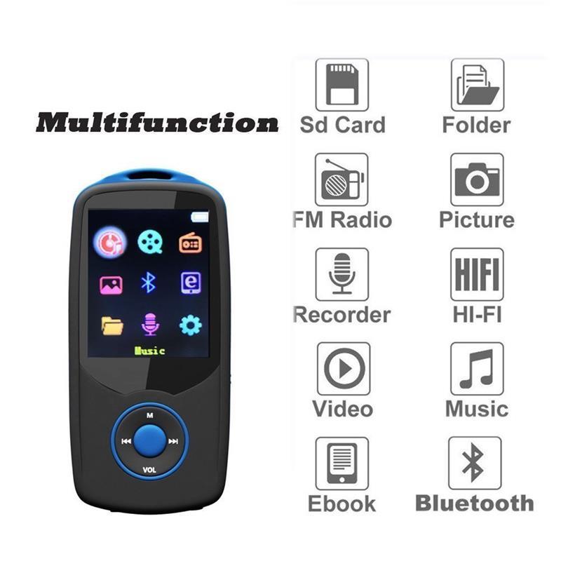 2018 New Original RUIZU X06 16G High Quality Bluetooth MP3 Music Player with Color Menu Sports Walkman with FM Radio, Recorder