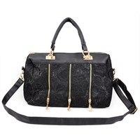 1bcbe4e13 Ladies Lace PU Leather Stud Tote Shoulder Bag Handbag Shopper Black CUTE