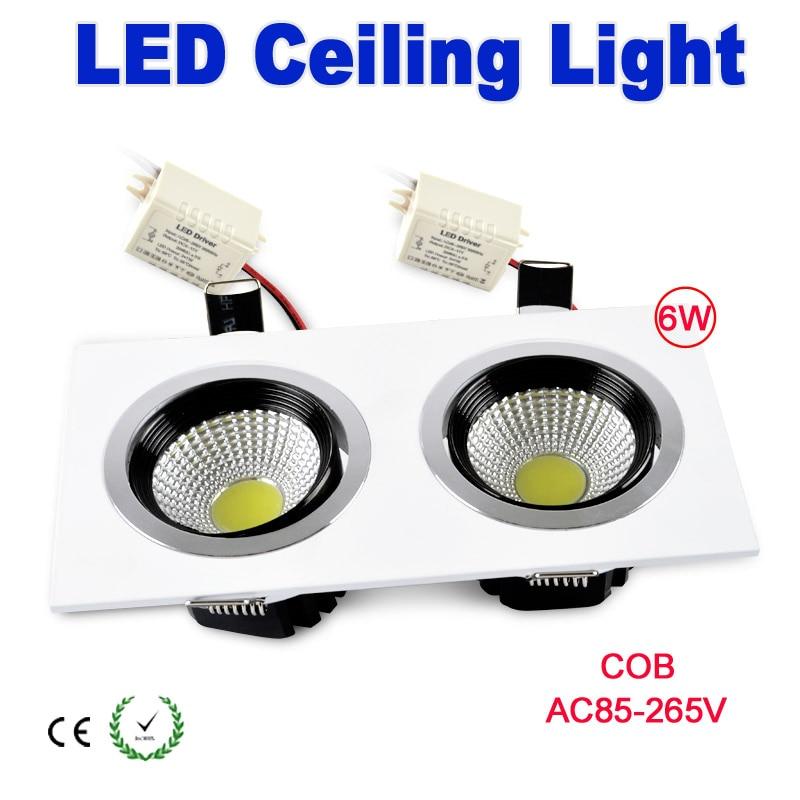 Led Light Fixture Cover: Double Lights 6w Led Lighting Square LED Ceiling Light COB