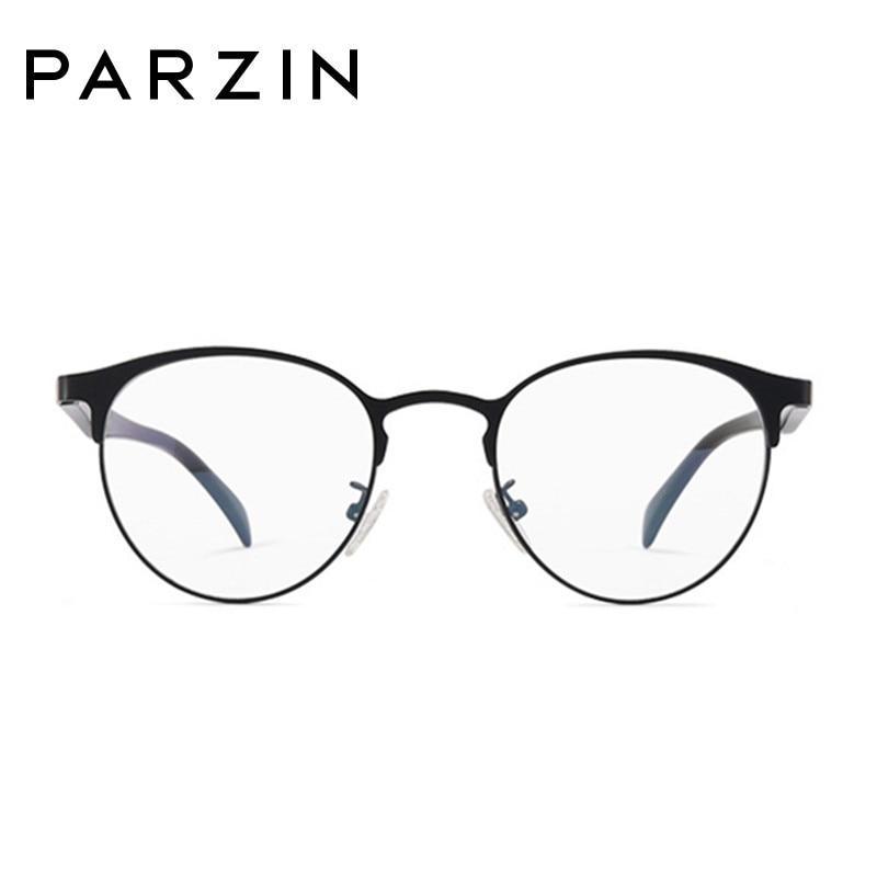 Parzin Vintage lunettes rondes cadre femmes hommes métal lunettes cadre Tr 90 jambe lunettes avec étui noir 5062