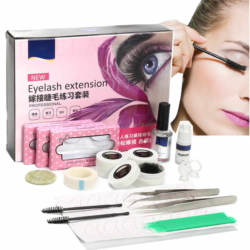 3341d605b07 Individual False Eyelash Extension Tool C Curl Lash Glue Tweezer Jade Stone  Set Kit Semi Permanent