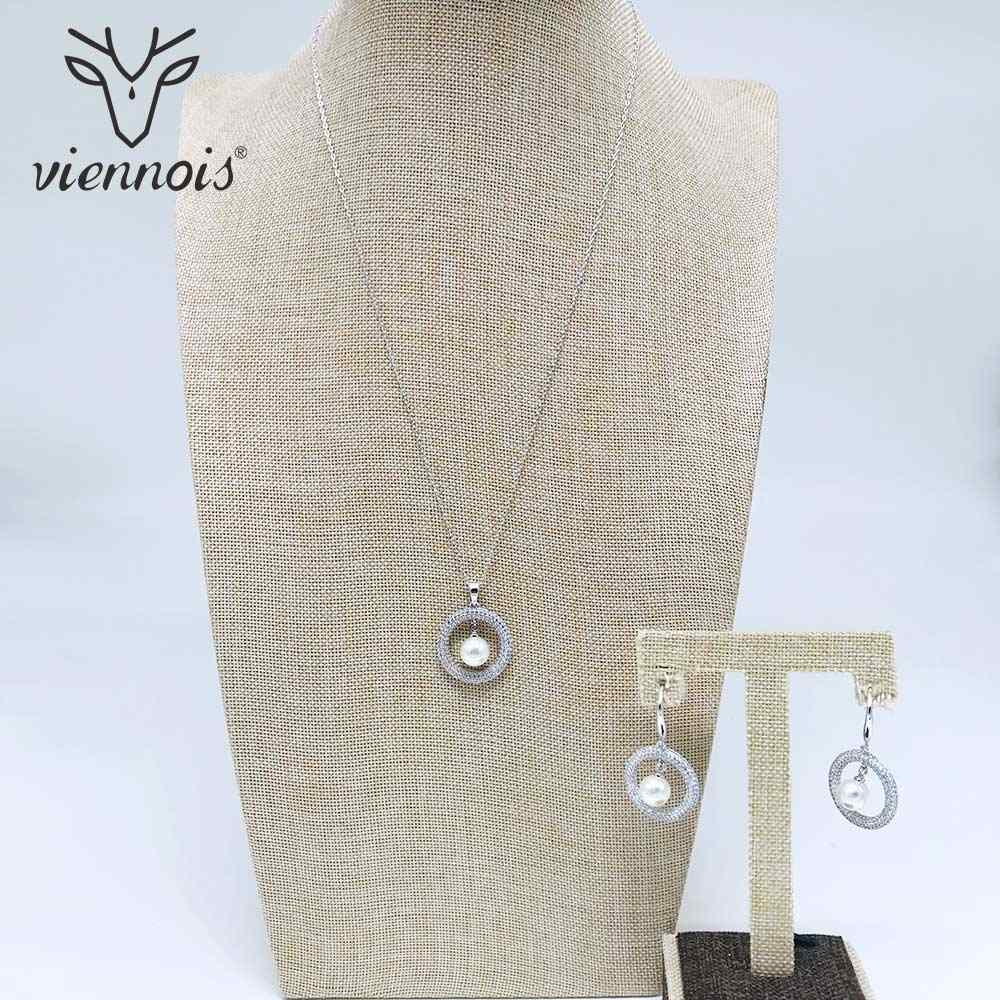 Viennois Silver Crystal Rhinestone Faux Simulated Pearl Earrings  Circle Pendant Necklace Jewelry Set Wedding Party Women
