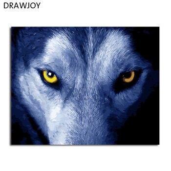 Drawjoy يشكل صورة الرسم و الخط من الفيلة الحيوان الذئب diy الطلاء بواسطة أرقام التلوين بالأرقام