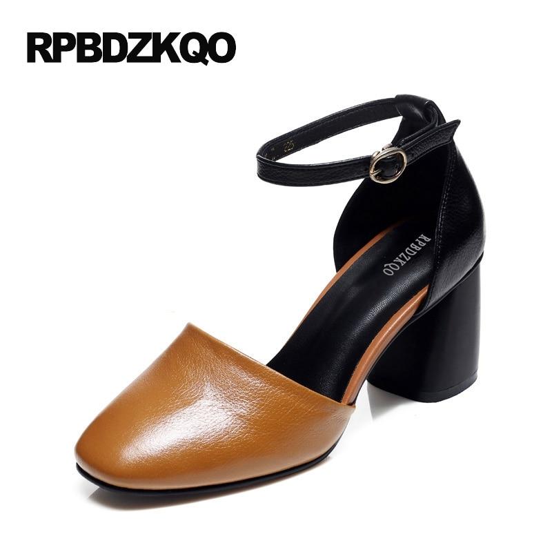 Elegant Size 4 34 Pumps Plus 2017 Beige Genuine Leather Brown Sandals Square Toe High Heels Medium Ankle Strap Women Dress Shoes adamex avila 27p brown beige