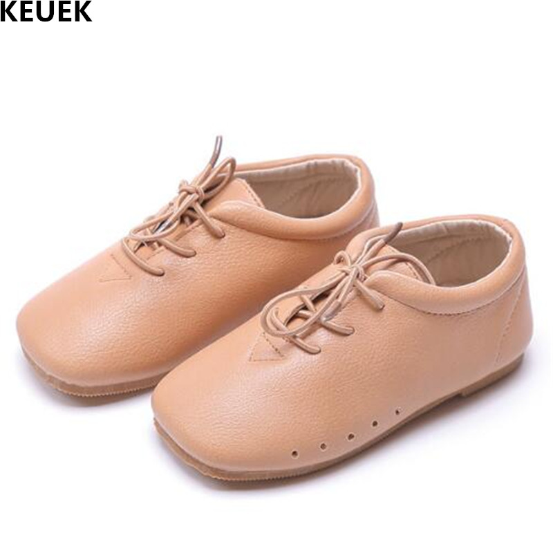 New Children Shoes Spring/Autumn Single Shoes Boys Girls Leather Shoes Baby Toddler Lace-Up Cow Muscle Flats Kids Shoes 041