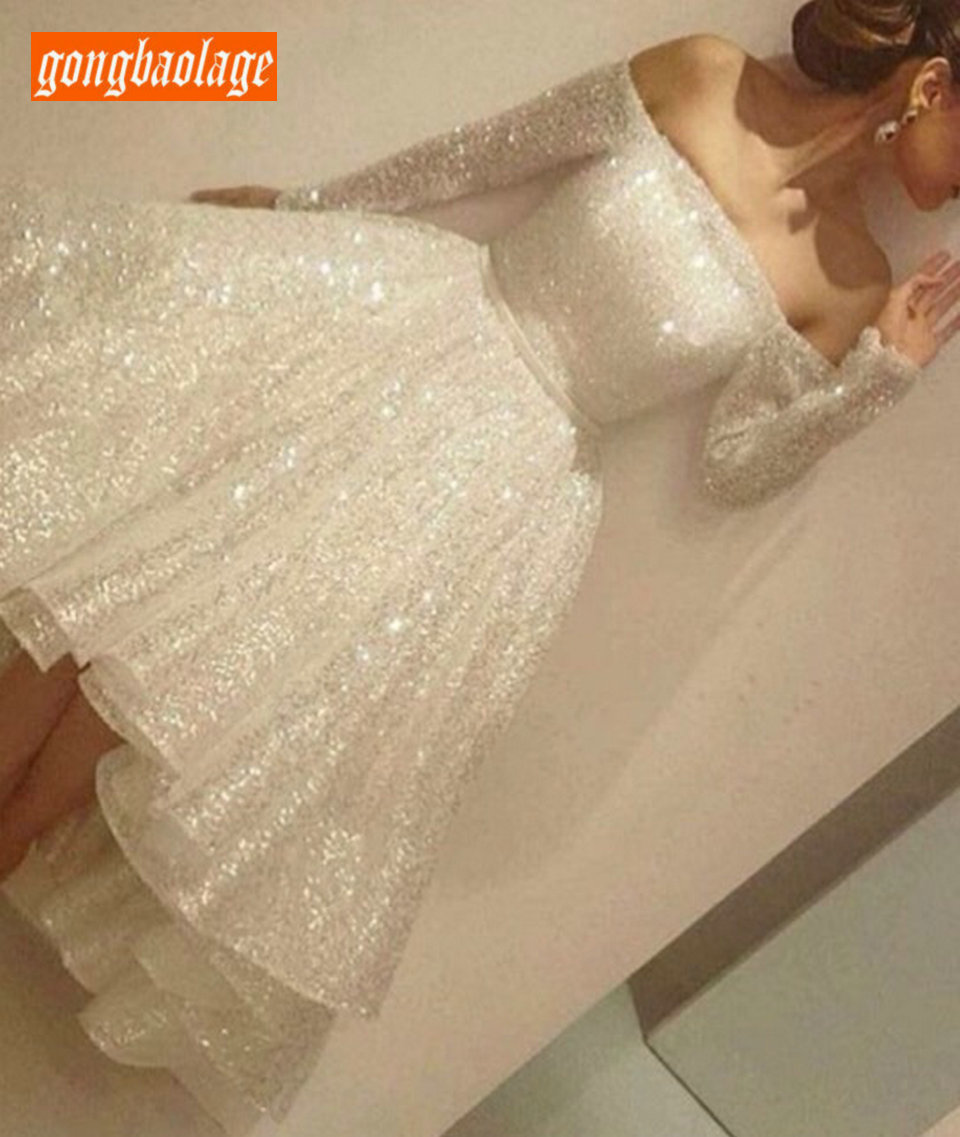 Charming Ivory Short Wedding Dresses Long Sleeve 2019 Sexy Wedding Gowns Boat Neck Sequined Zipper Knee Length Party Bride Dress