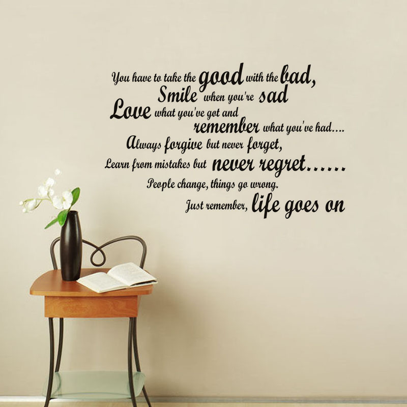 Наклейка на стену «Улыбка, когда ты грустный», наклейка на стену с английским текстом для гостиной