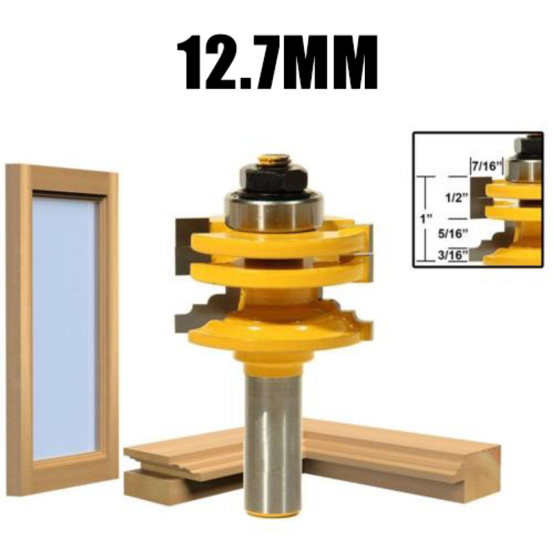 1pc 8mm/12.7mm 1/2 inch Shank Glass Door Rail & Stile Reversible Router Bits Woodworking Cutting Tool Mayitr Power Tool