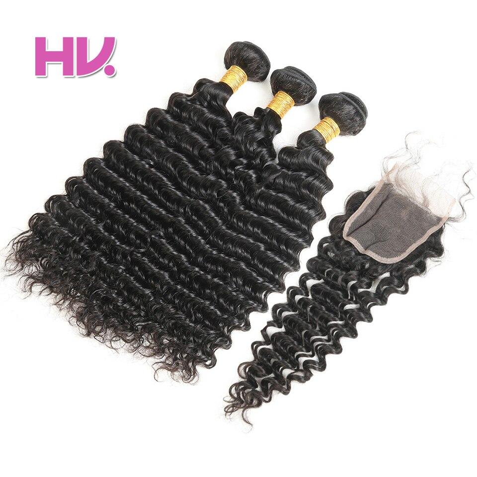 Hair Villa egy csomag Remy brazil mélyhullám bezárása emberi haj - Emberi haj (fekete)