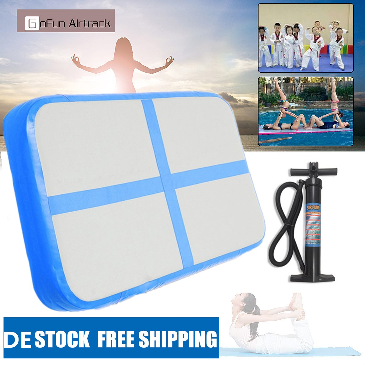 Inflatable Gymnastic Air Track Mat Floor Tumbling Yoga Cheerleading + Hand Pump