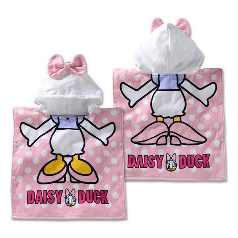 Disney Cotton Daisy Baby Girls Boys Hooded Towel Cloak Absorbent Bathrobe Toddler Baby Bath Towel Cloak Beach Towel Handkerchief