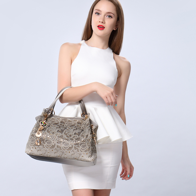 Ladies Leather Bag with Floral Print