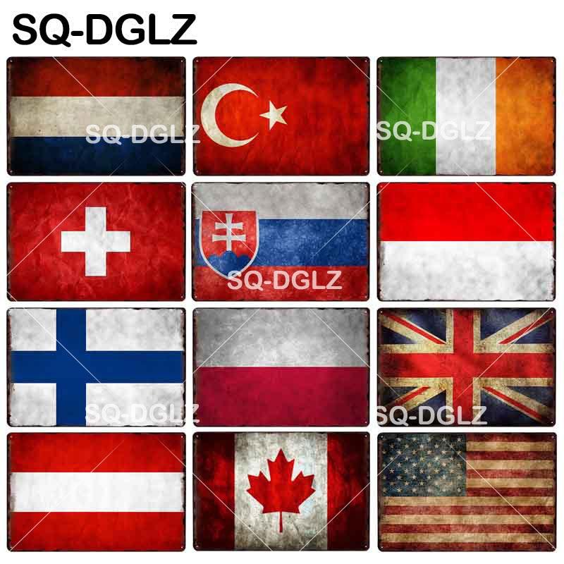 [SQ-DGLZ]Flag Metal Sign Netherland/Turkey/Ireland/Switzerland/Slovakia/Indonesia/Britain/Austria/Canada/America Crafts Plaques(China)