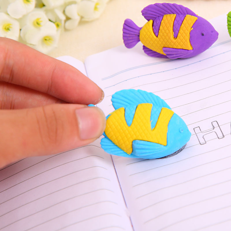 GREENHOW Novelty Colorful Small Fish Rubber Eraser Kawaii Creative Stationery School Office Supplies Gifts For Kids