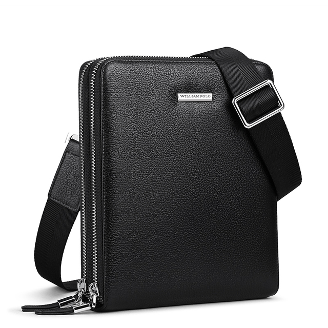WILLIAMPOLO 100% Leather Men's Messager Bag