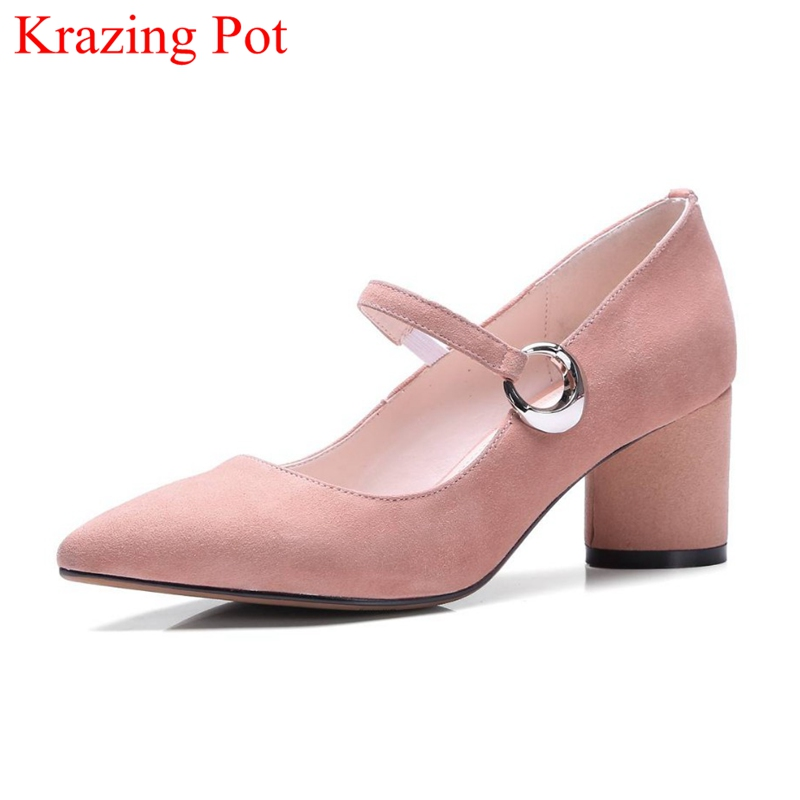 Hot Sale Fashion Brand Spring Shoes Pointed Toe Kid Suede High Heels Buckle Women Pumps Party Mary Janes Office Lady Shoe L93 new 2017 spring summer women shoes pointed toe high quality brand fashion womens flats ladies plus size 41 sweet flock t179