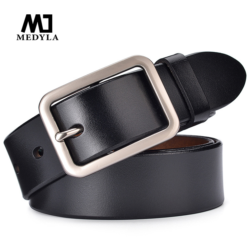 MEDYLA New Unisex Leather Belt Pin Buckle Vintage Men and Women Fashion Strap Female Waistband Pin Buckles Fancy for Men's Jeans