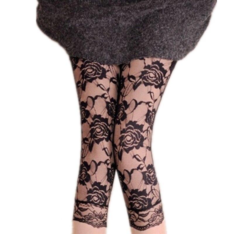 VISNXGI Leggings For Plus Size Women Lace Capris Elastic High Waist Sexy Skinny Leggings Black Mesh Calf-Length Capris Pants