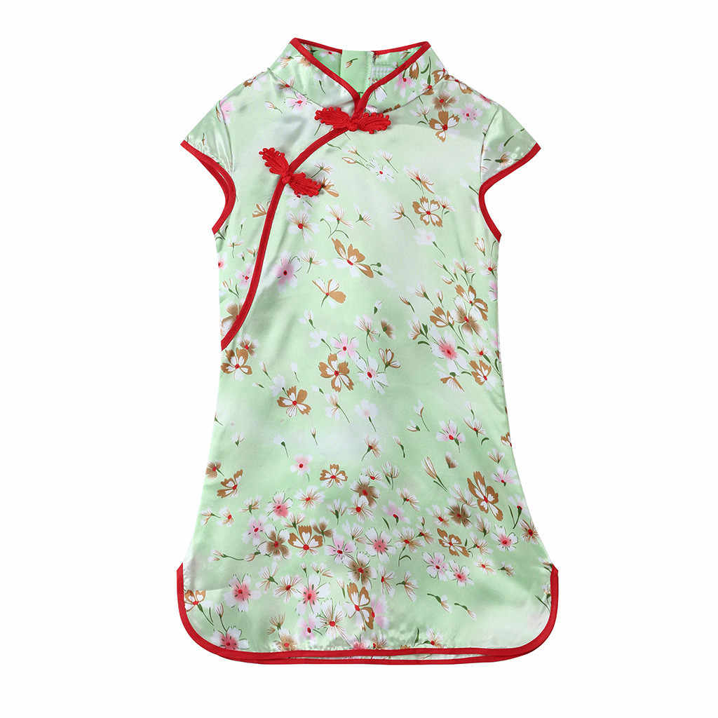 Children's short-sleeved Chinese style dress flower print cheongsam girl cheongsam flower party fashion princess dress 2019 new