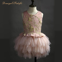 2018 New Elegant Flower Girl Party Dresses with Sash Lace Appliques Ball Gown First Communion Dresses for Girls Kids Prom Dress