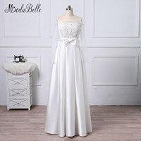 Modabelle белое нарядное платье с длинными рукавами и бантом, с вырезом «лодочка с модным блестящим топом платья атласные вечерние платья для ос