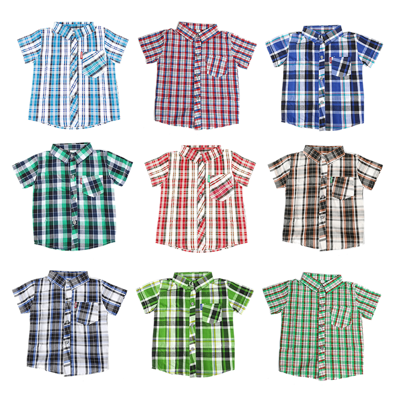 JOMAKE Boys Shirts 2018 New Summer Casual Baby Boy Clothes Classic Plaid Short Sleeve Children Shirts Handsome Costume For Kids недорго, оригинальная цена