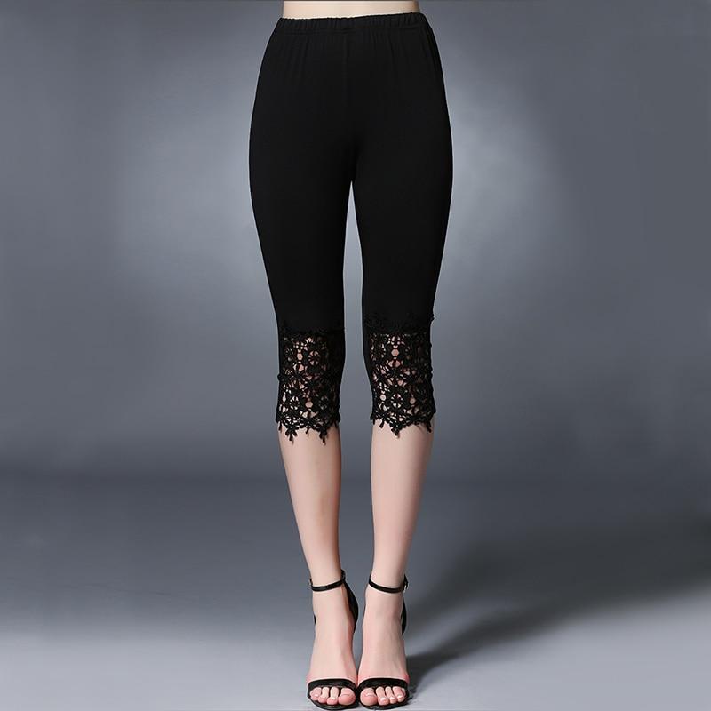 2016 new fat XL font b Womens b font summer fat mm lace openwork skinny pants