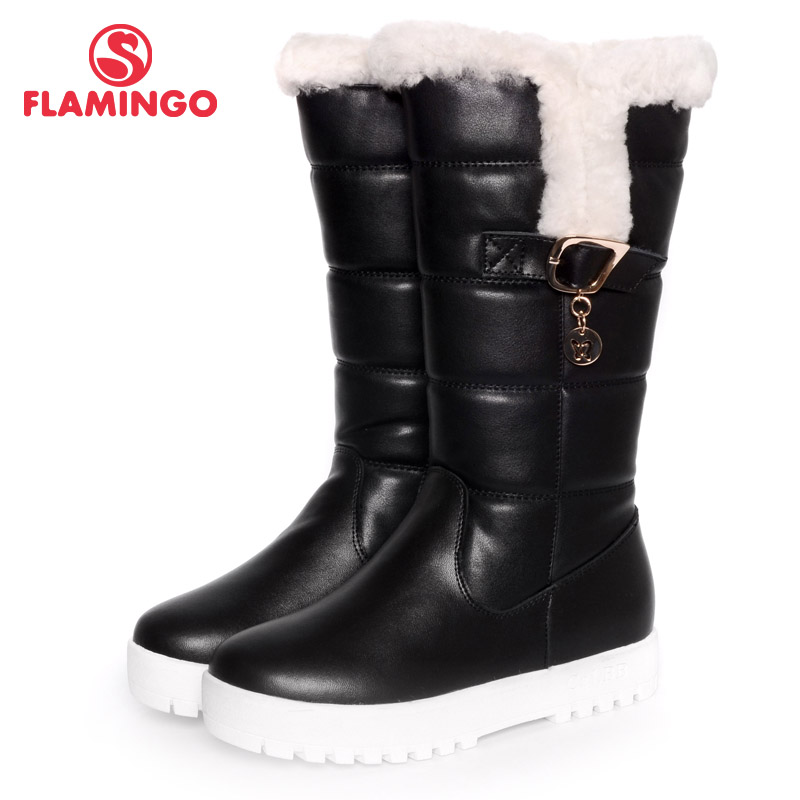 FLAMINGO 2017 new collection winter fashion boots with wool high quality anti slip kids shoes for girls W6YK051