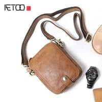 AETOO Handmade Men S Bags Shoulder Small Sacks Outdoors Portable Cowhide Cross Pack Casual Mini Mad