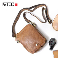 AETOO Handmade Men 's Bags Shoulder Small Sacks Outdoors Portable Cowhide Cross Pack Casual Mini Mad Horse Pockets Men