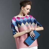 Azterumi Issey Miyake Summer Elegant T Shirt 2018 Women Fashion Casual Loose Large Size Bat Sleeve Tops Tees Shirts Female Pink