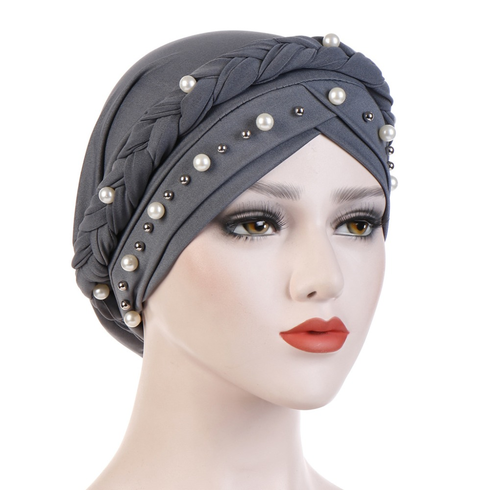 Image 5 - Muslim Women Cross Silk Braid White Pearl Turban Hat Scarf Cancer