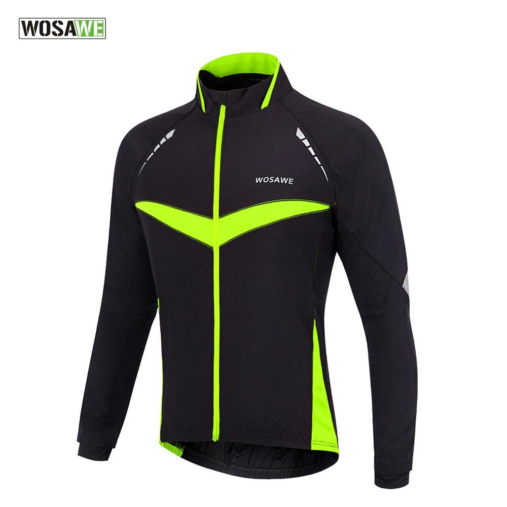 Цена за WOSAWE Ветрозащитный Водонепроницаемая куртка Велоспорт Длинным Рукавом Джерси Зима Осень Теплая Одежда Велоспорт Носить Светоотражающие Жилеты