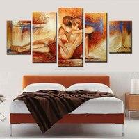 Artesanal interior decorativo pintura a óleo da lona casal nu no amor amantes retrato da arte para o quarto moderno decoração de casa sexo paixão