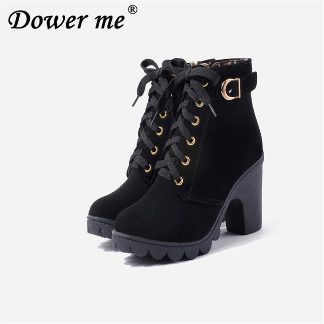 a3b29045d94 2019 New Autumn Winter Women Boots High Quality Solid Lace-up European Ladies  shoes PU Leather Fashion Boots Free Shipping black