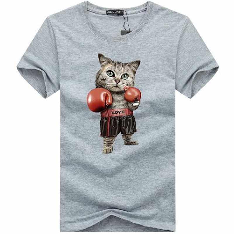 BINYUXD Для мужчин Boxinger кошка Мода 3D Футболка с принтом Лето Kawaii плюс Размеры Puglism сильный Боксер мужской футболки