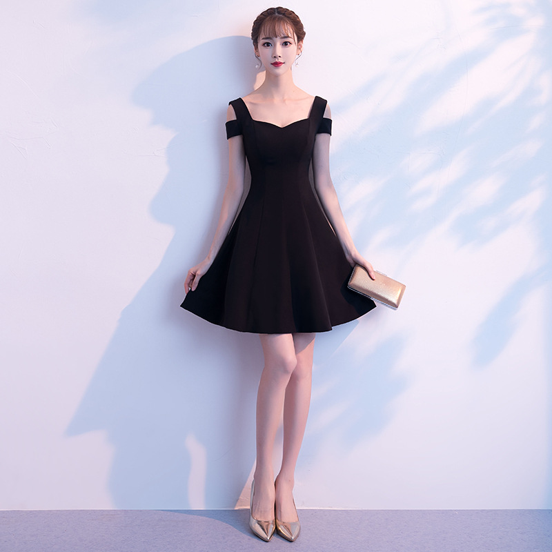 Black Evening Dress 2019 New Banquet Party Noble And Elegant Birthday Party Short Sexy Slim Dress
