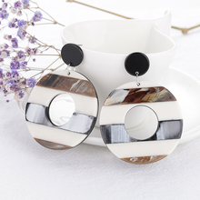 Bohemian New Fashion Letter C Ear Studs High-grade Resin Acrylic Acetate Earrings Geometric Pattern Temperament Woman