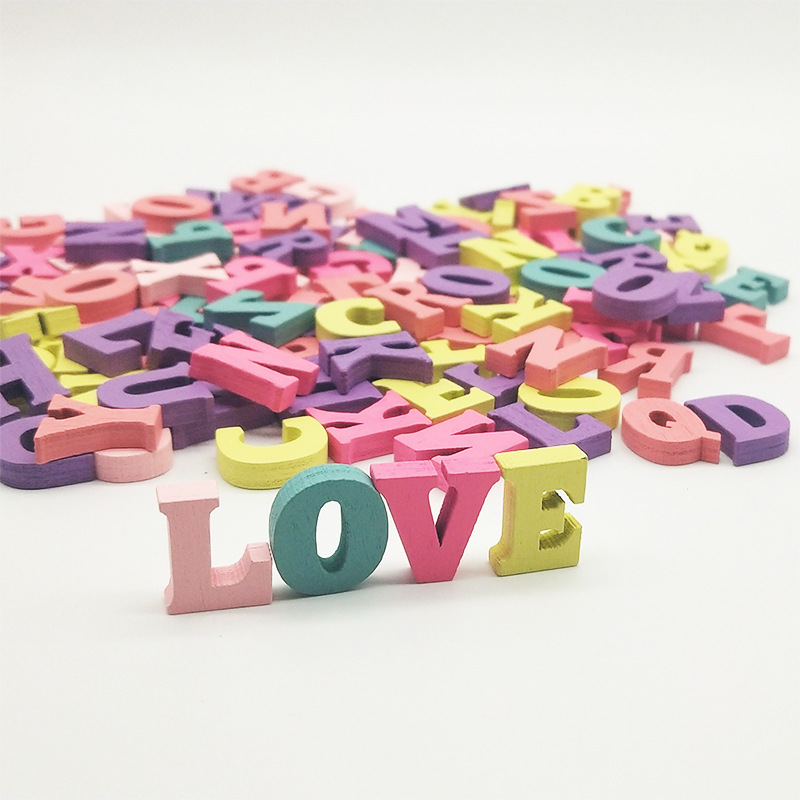 100pcs Random Color Handmade Wooden Letters Decoration Alphabet Word Number Birthday Gift DIY Teaching Material For Kids C