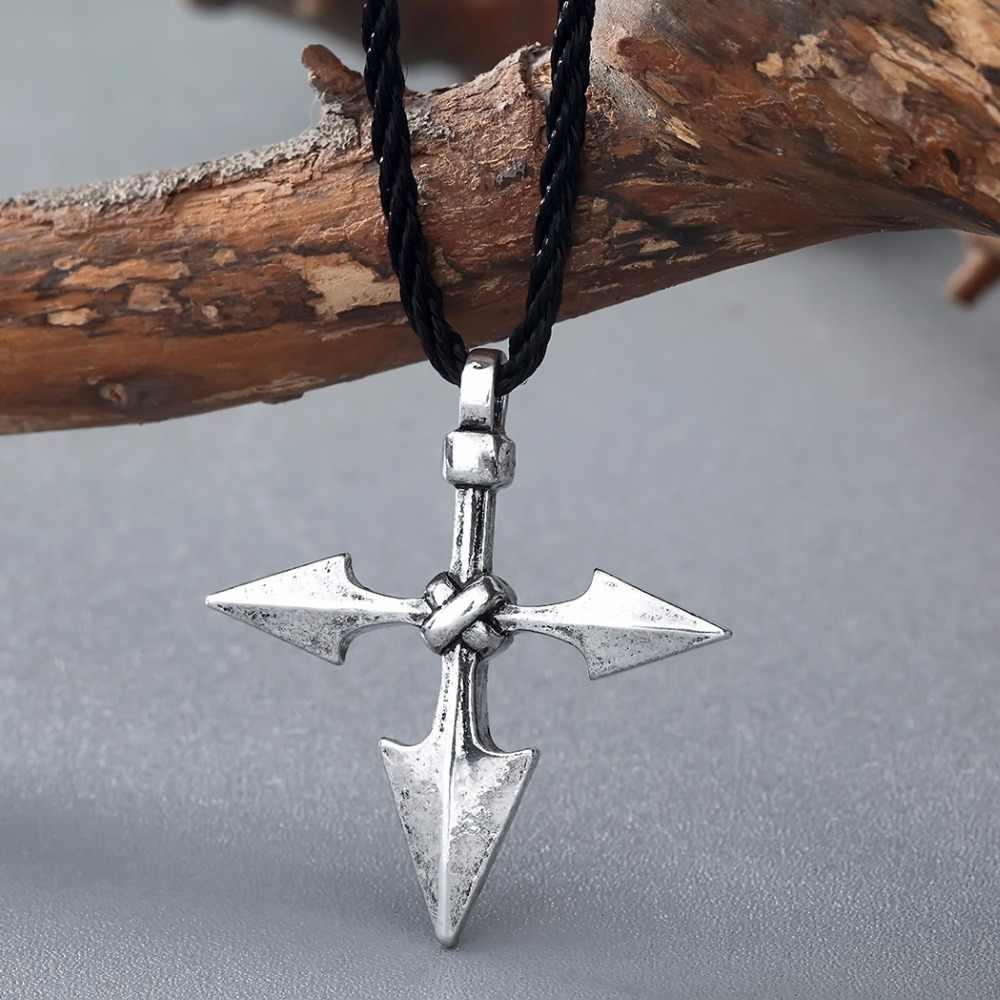 QIMING moda Boho naszyjnik kobiety duży wojownik włócznia Viking barbarzyńca krzyż biżuteria Asatru wisiorek Norse naszyjnik Collier