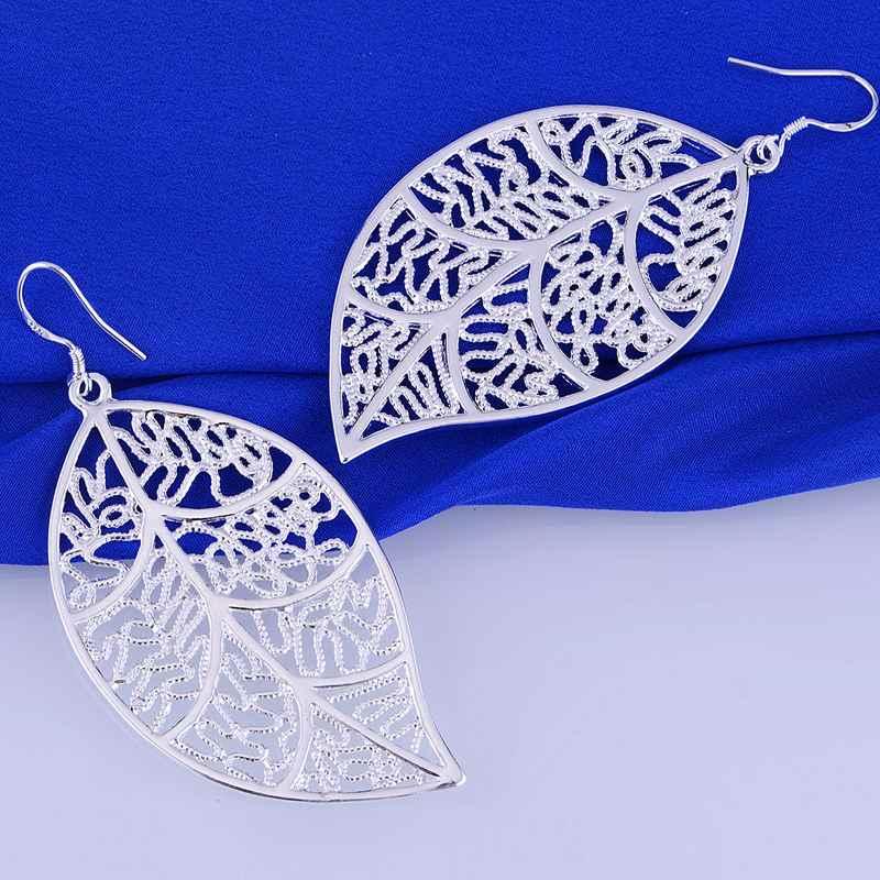 Brincos de prata Banhado, Prata Banhado A jóia da forma, frondoso oco artístico/cfmakwta dwuamoba LQ-E128