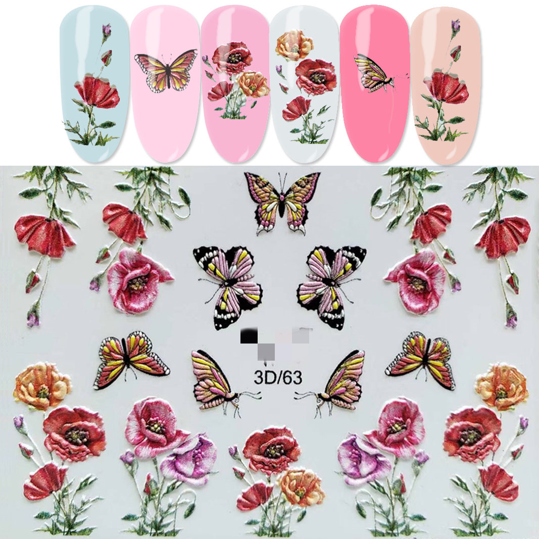 3D Acrylic Engraved Flower Embossed Fruit Cake Ice Cream Pattern Nail Water Decals Fashion Empaistic Nail Water Slide Decals in Stickers Decals from Beauty Health