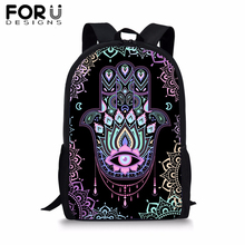 FORUDESIGNS Fatima Hamsa Hand School Bag for Kids Girl Boy Lucky Black Backpack Preppy Bolsa Youth Child Bookbag Mochila Satchel