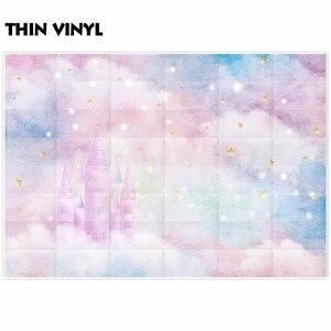 Image 3 - Allenjoy sfondi per studio fotografico glitter stars castello nuvole colorate del bambino doccia sfondo festa di compleanno photocall
