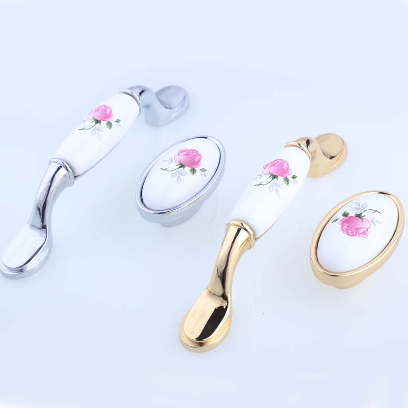 16mm 96mm Modern Fashion rural pink rose ceramic furniture handles knobs silver gold kitchen cabinet dresser drawer knobs pulls