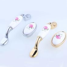 16mm 96mm Modern Fashion rural pink rose ceramic furniture handles knobs silver gold kitchen cabinet dresser